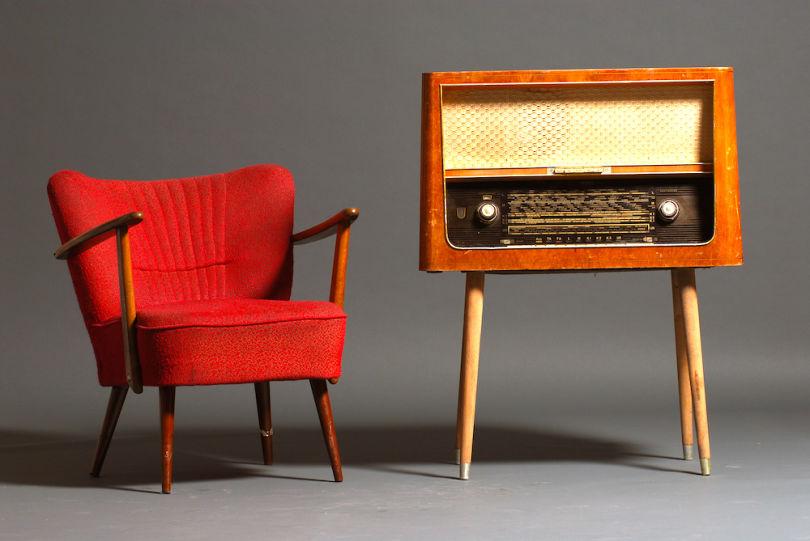 vintage radio and armchair