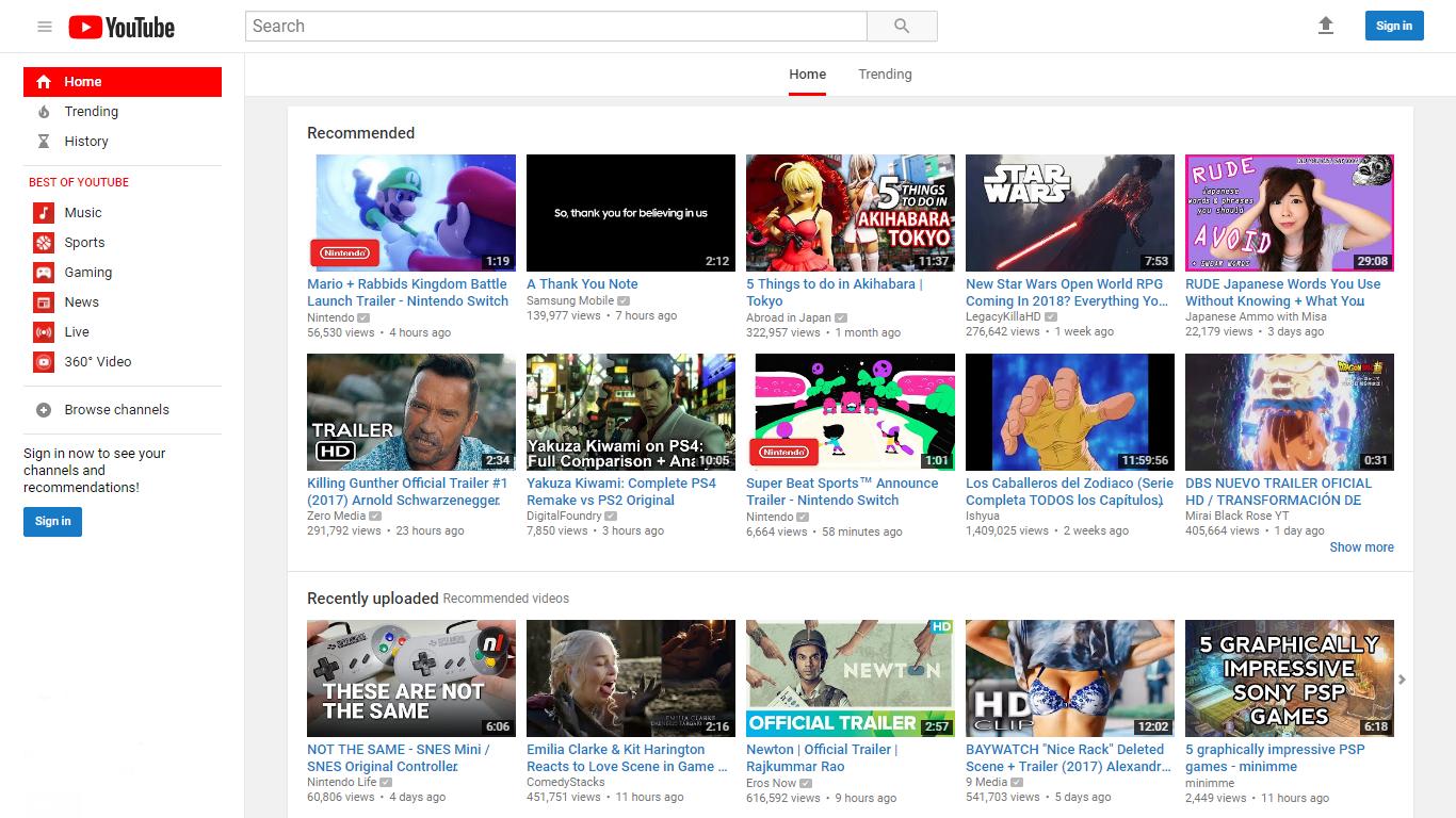 youtube nuevo pantalla grande
