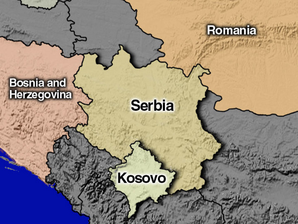 Serbia, Kosovo, Romania, and Bosnia and Herzegovina Overview map