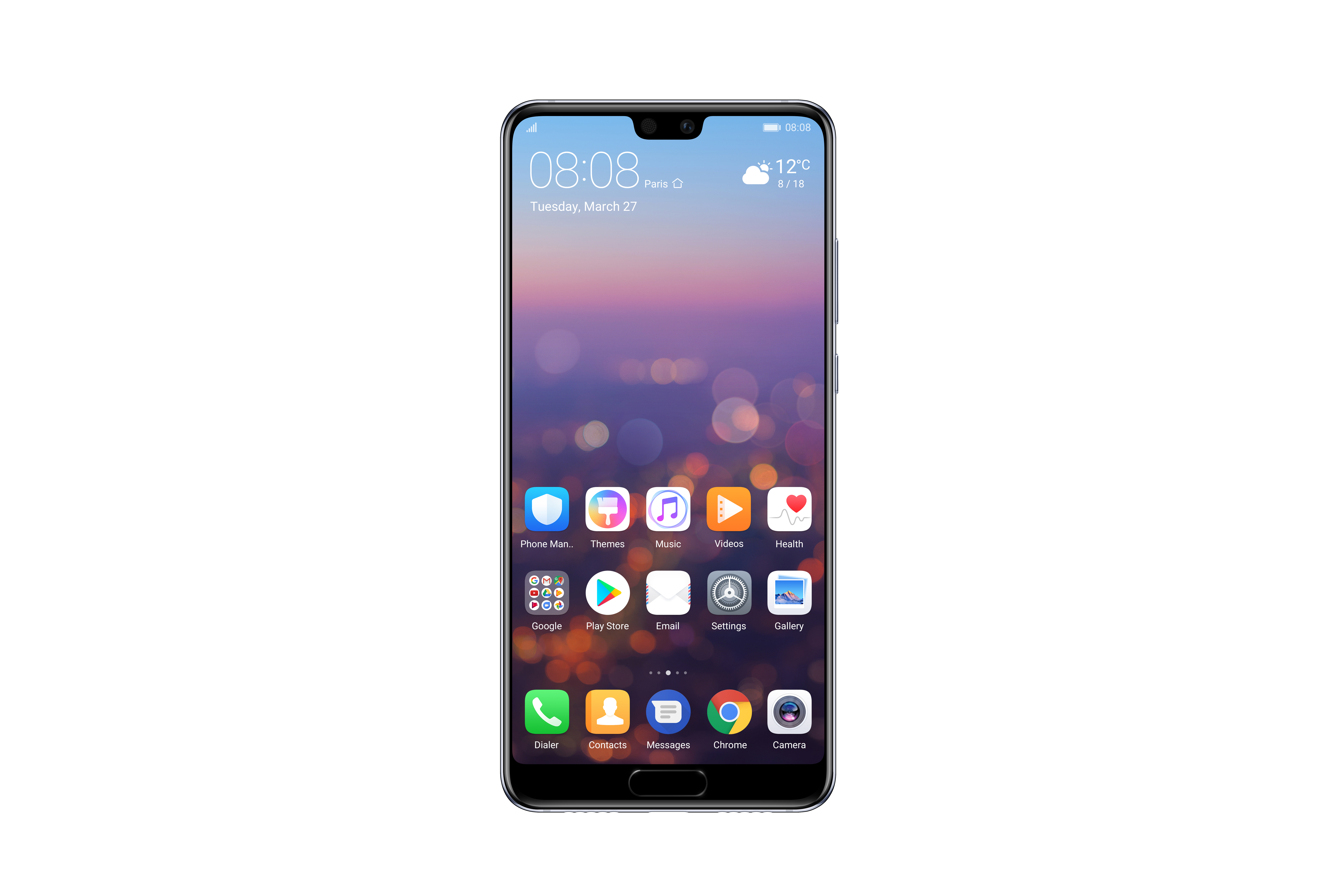 HUAWEI P20 Midnight Blue Front with UI