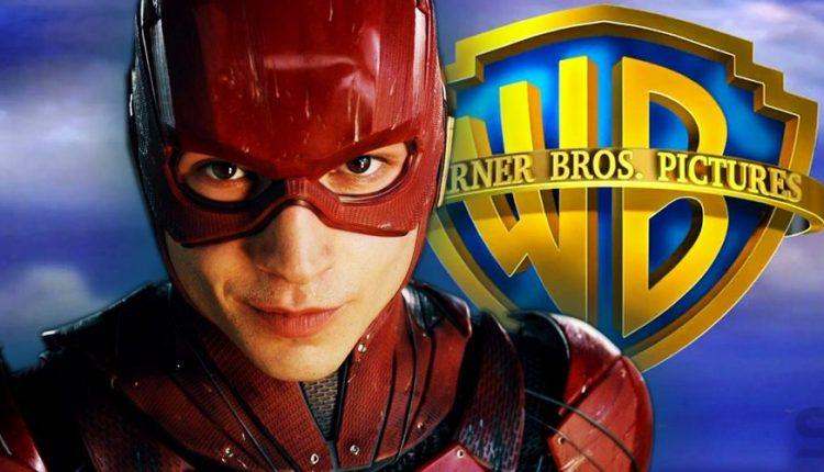 Ezra-Miller-as-the-Flash-and-Warner-Bros-Logo